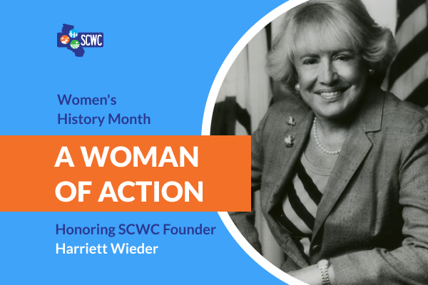 """Photo of Harriett Wieder and the title """"A Woman of Action"""""""