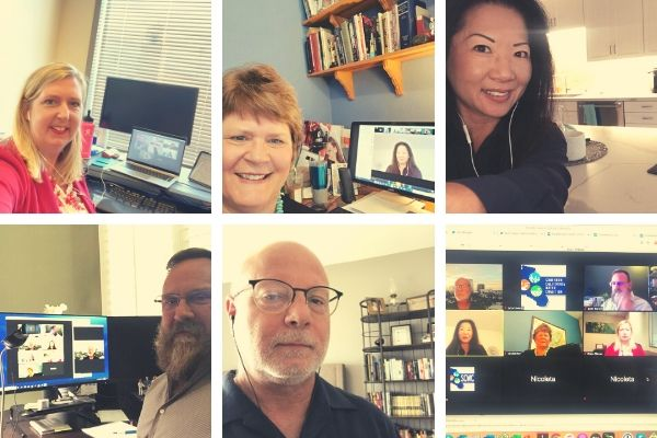 Photos of speakers participating in webinar