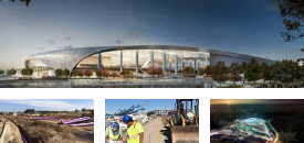 Two photos of construction of SoFi Stadium, and two images of the stadium as completed